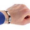 """Stainless Steel Black Rubber Mens Wrist Bracelet 6mm 8.5"""""""