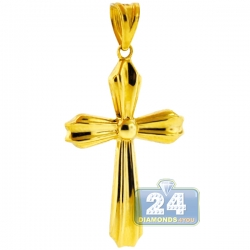 Hollow 10K Yellow Gold Puffed Latin Cross Womens Pendant