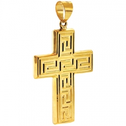 Hollow 10K Yellow Gold Greek Key Cross Mens Pendant