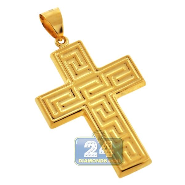 Hollow 10k yellow gold greek key cross mens pendant aloadofball Choice Image