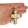 Hollow 10K Yellow Gold Greek Key Cross Mens Pendant