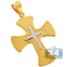 Hollow 10K Yellow Gold Puff Fleur De Lis Cross Mens Pendant