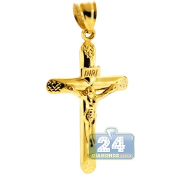 10K Yellow Gold Crucifix Cross Mens Pendant 2 inches