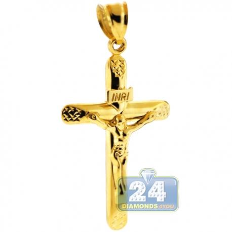 "Mens 10K Yellow Gold Crucifix Cross Religious Pendant 2"""