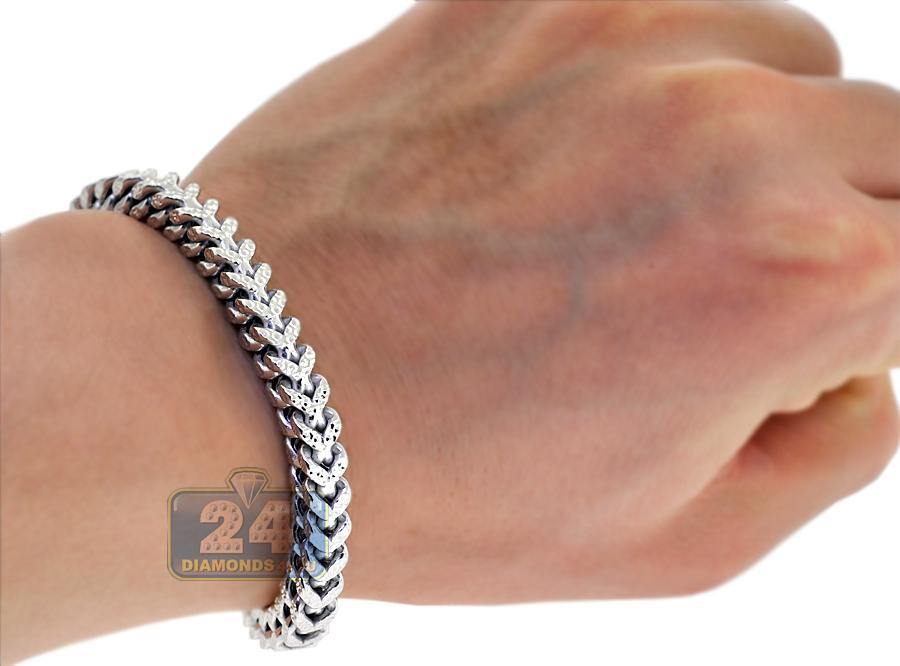 solid 10k white gold diamond cut franco mens bracelet 6mm 8 5. Black Bedroom Furniture Sets. Home Design Ideas
