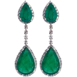 18K White Gold 7.61 ct Emerald Diamond Womens Drop Earrings