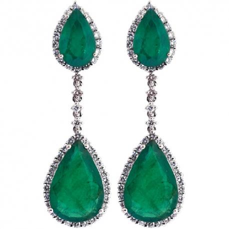 Womens Emerald Diamond Drop Earrings 18K White Gold 7.61 ct