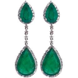 18K White Gold 7.61 ct Emerald Diamond Womens Drop Earrings