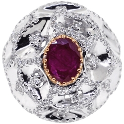 Womens Ruby Diamond Dome Ring 18K Two Tone Gold 1.86 ct