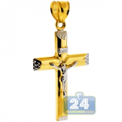 Real 10K Two Tone Gold Crucifix Cross Mens Pendant 1.9""