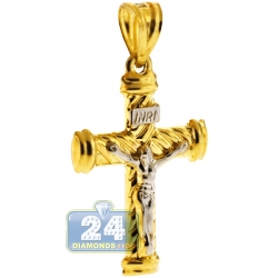 Hollow 10K Yellow Gold Puffed Crucifix Cross Mens Pendant