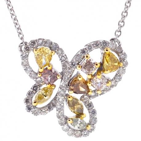 Womens Fancy Diamond Butterfly Necklace 14K White Gold 1.07ct