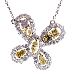 Womens Fancy Yellow Diamond Butterfly Necklace 14K Gold 1.37ct