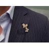 Womens Fancy Diamond Double Butterfly Brooch Pendant 14K Gold