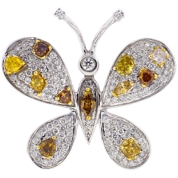 Womens Fancy Diamond Butterfly Brooch Pendant 14K White Gold