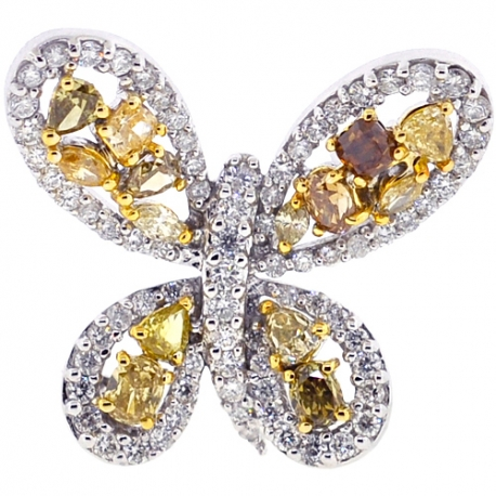 Fancy Diamond Butterfly Womens Brooch Necklace 14K Gold 2.84 ct
