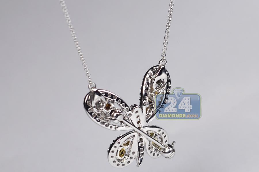 Fancy Diamond Butterfly Womens Brooch Necklace 14k Gold 2