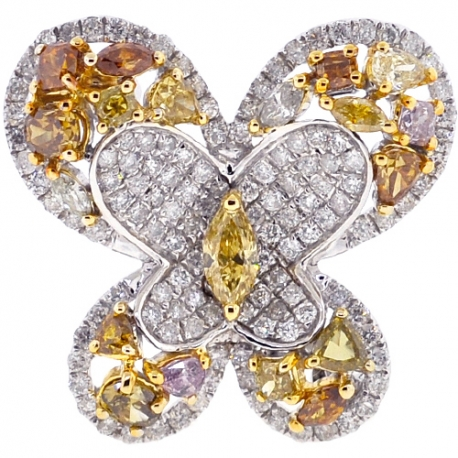 Womens Fancy Diamond Butterfly Brooch Pendant Necklace 14K Gold