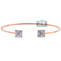 14K Rose Gold 0.42 ct Diamond Pyramid Womens Cuff Bracelet