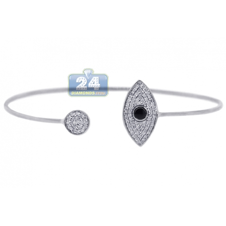 "Womens Diamond Evil Eye Cuff Bracelet 14K White Gold 0.39 ct 6"""