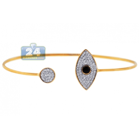 Womens Diamond Evil Eye Cuff Bracelet 14K Yellow Gold 0.39 ct 6""