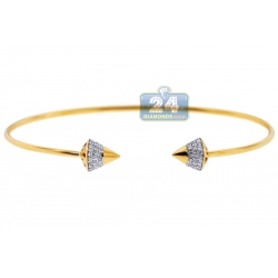 Womens Diamond Spike Cuff Bangle Bracelet 14K Yellow Gold 6""
