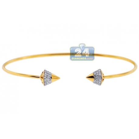 """Womens Diamond Spike Cuff Bangle Bracelet 14K Yellow Gold 6"""""""