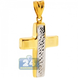 10K Yellow Gold Diamond Cut Puffed Cross Mens Pendant