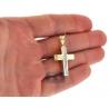Real 10K Yellow Gold Diamond Cut Puffed Cross Mens Pendant