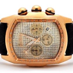 Mens Diamond Bubble Rose Gold Watch Joe Rodeo King JKI19 0.36 ct