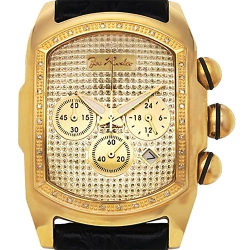 Mens Diamond Bubble Yellow Gold Watch Joe Rodeo King JKI30 .36 ct