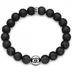 Silver Evil Eye Bead Black Onyx Adjustable Bracelet by Edus&Co