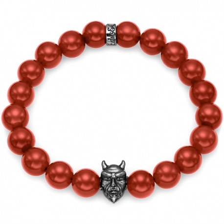 Black Silver Devil Bead Red Carnelian Adjustable Bracelet Edus&Co