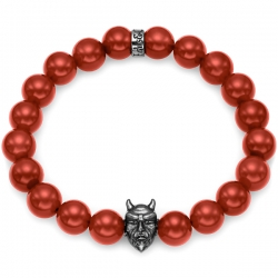 Black Silver Devil Bead Red Carnelian Bracelet by Edus&Co