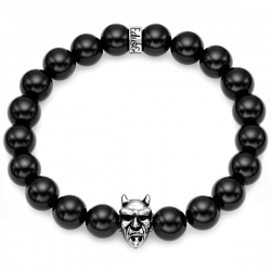 Silver Devil Bead Black Onyx Adjustable Bracelet by Edus&Co