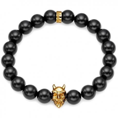18K Yellow Gold Devil Black Onyx Bead Adjustable Bracelet Edus&Co