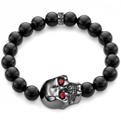 Black Silver Large Ruby Skull Onyx Bead Adjustable Bracelet Edus&Co