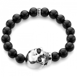 Sterling Silver Large Skull Black Diamond Onyx Bead Bracelet Edus&Co