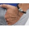 Sterling Silver Large Skull Black Diamond Onyx Bead Bracelet Edus&Co