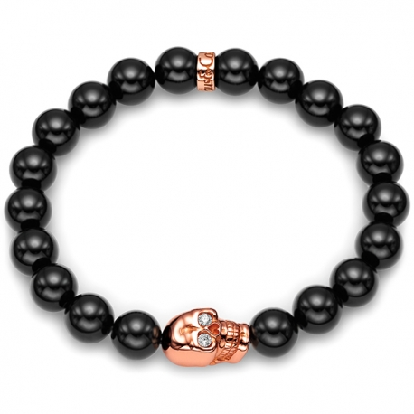 18K Rose Gold Diamond Skull Onyx Bead Adjustable Bracelet Edus&Co