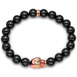 Rose Gold Diamond Skull Onyx Adjustable Bracelet by Edus&Co