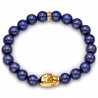 18K Yellow Gold Skull Lapis Lazuli Bead Adjustable Bracelet Edus&Co