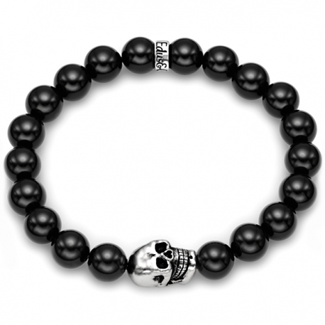 Sterling Silver Skull Black Onyx Bead Adjustable Bracelet Edus&Co
