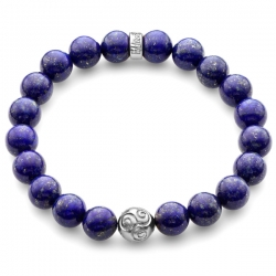 Platinum Celtic Bead Blue Lapis Lazuli Bracelet by Edus&Co