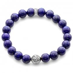 Platinum Celtic Bead Blue Lapis Lazuli Bracelet by Edus&Co