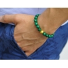 18K Yellow Gold Celtic Bead Malachite Adjustable Bracelet Edus&Co