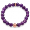 18K Rose Gold Flower Bead Amethyst Adjustable Bracelet Edus&Co