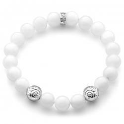 Silver Celtic Bead White Quartz Adjustable Bracelet by Edus&Co