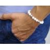 925 Silver Celtic Bead White Quartz Adjustable Bracelet Edus&Co