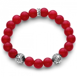 Silver Star Bead Red Jade Adjustable Bracelet by Edus&Co